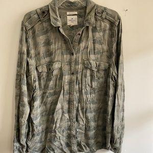 AEO camo boyfriend fit button-up shirt